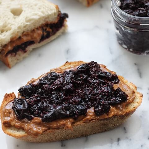 Almond Butter Superfruit Chia Jam Sandwich