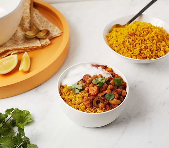 Moroccan Chickpea Bowl with Turmeric Rice