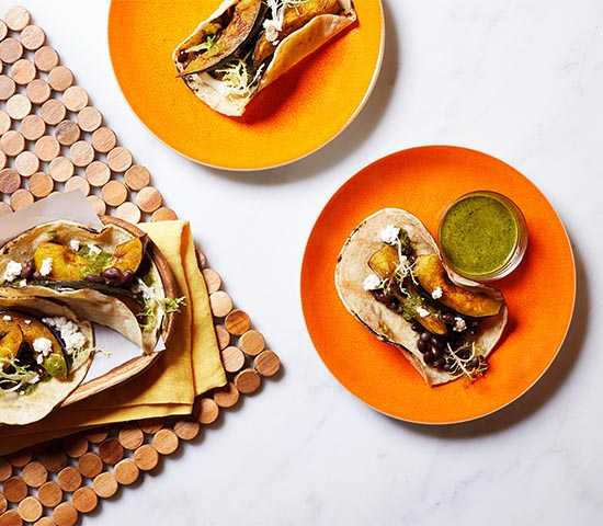 Pumpkin Black Bean Tacos with Cilantro Lime Sauce